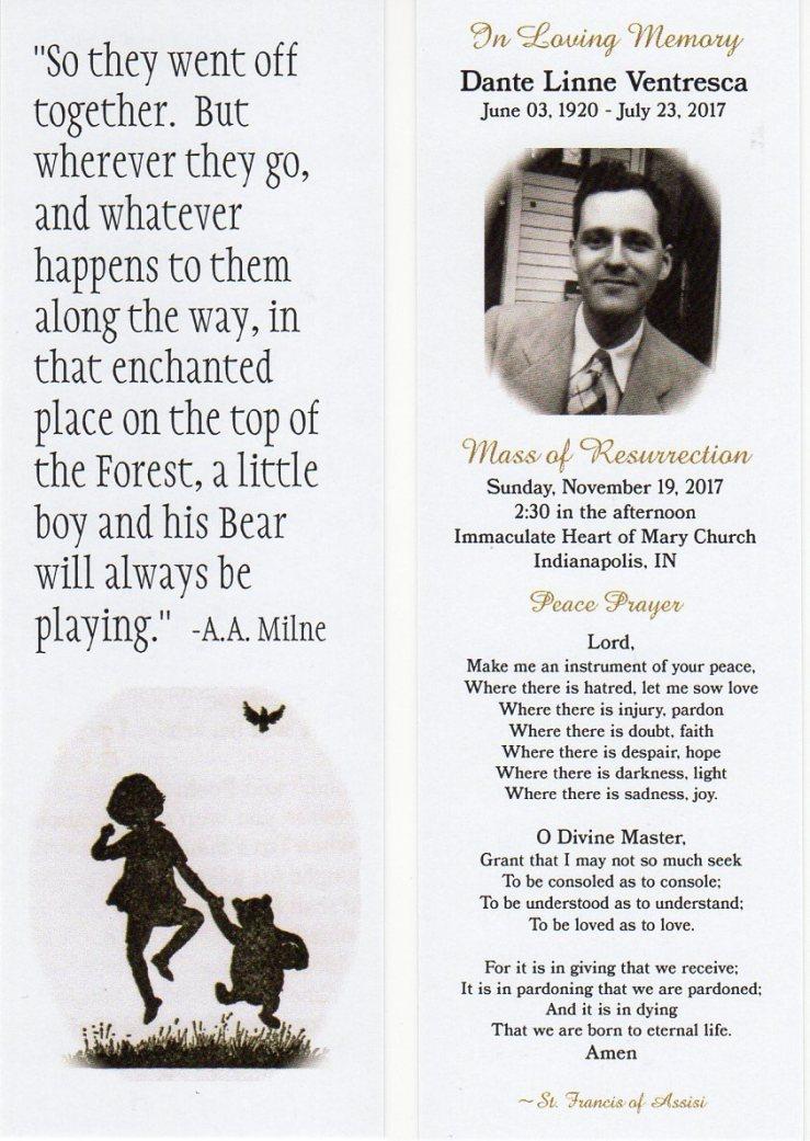 Dante L. Ventresca Memorial Bookmark I Pooh Bear20171203
